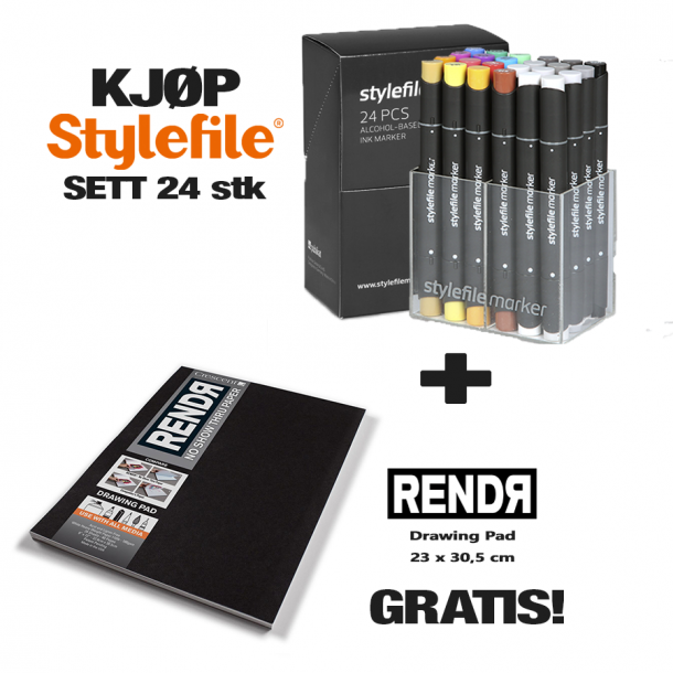 Stylefile Classic Marker Set 24 stk + RendR Drawing pad 23 x 30,5 cm