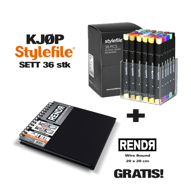 Stylefile Classic Marker Set 36 stk + RendR Wire Bound 20 x 20 cm